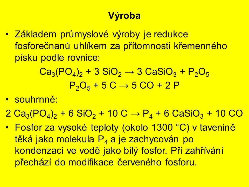 Výroba Základem průmyslové výroby je redukce fosforečnanů uhlíkem za přítomnosti křemenného písku podle rovnice: Ca 3 (PO 4 ) 2 + 3 SiO 2 → 3 CaSiO 3