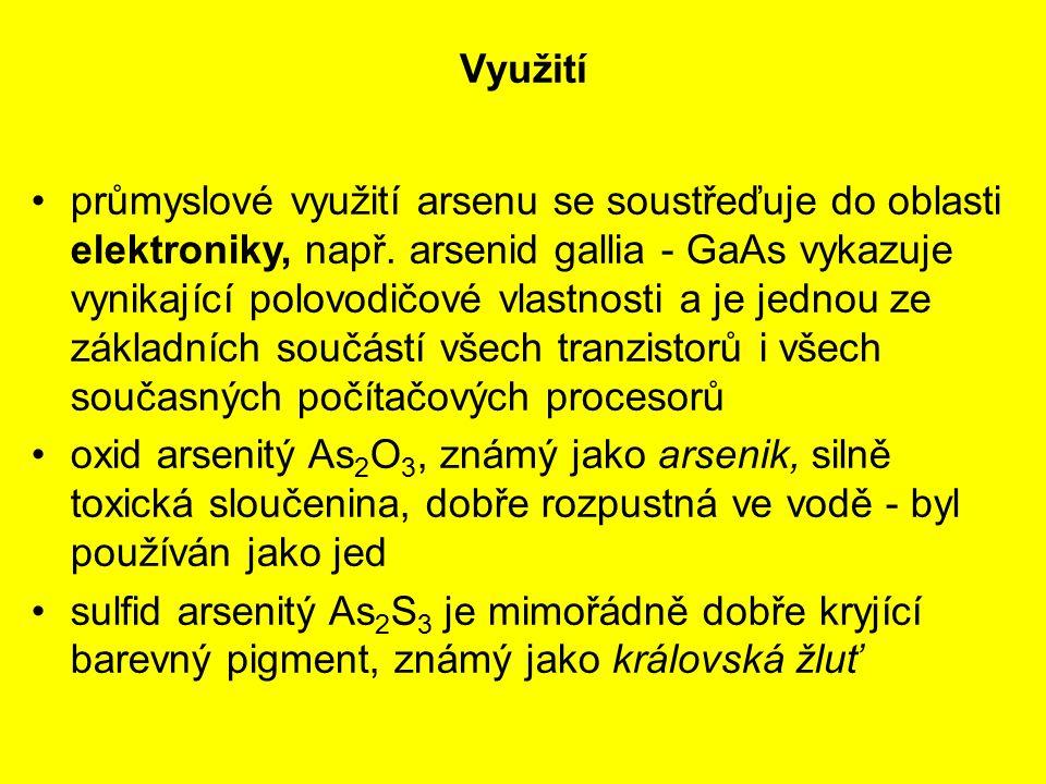 Využití průmyslové využití arsenu se soustřeďuje do oblasti elektroniky, např. arsenid gallia - GaAs vykazuje vynikající polovodičové vlastnosti a je