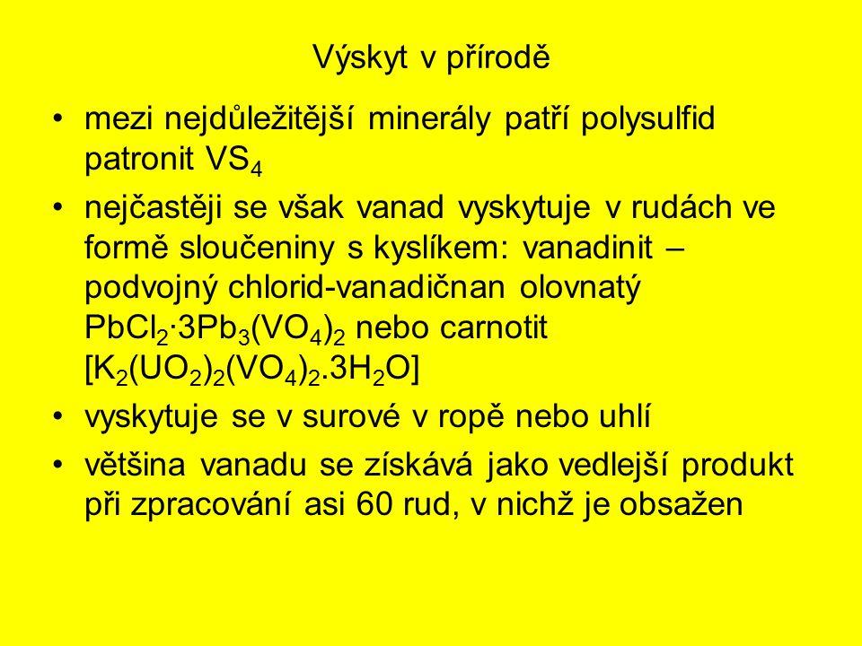 Výskyt v přírodě mezi nejdůležitější minerály patří polysulfid patronit VS 4 nejčastěji se však vanad vyskytuje v rudách ve formě sloučeniny s kyslíke