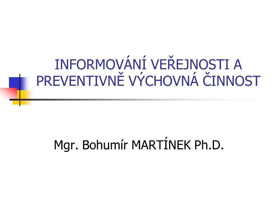 INFORMOVÁNÍ VEŘEJNOSTI A PREVENTIVNĚ VÝCHOVNÁ ČINNOST Mgr. Bohumír MARTÍNEK Ph.D.