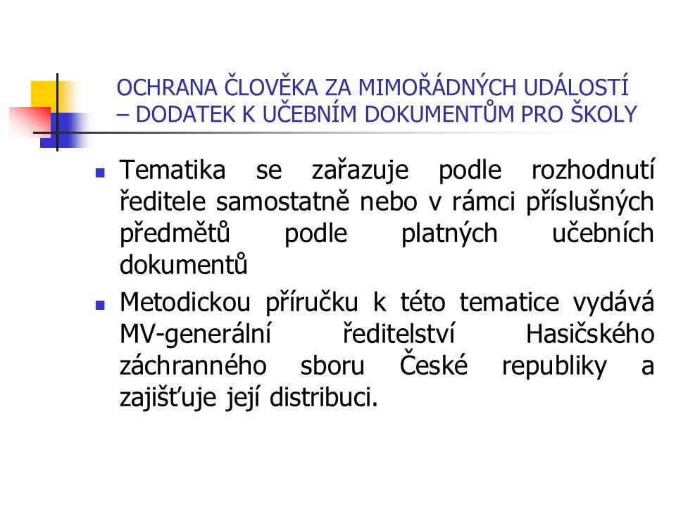 OCHRANA ČLOVĚKA ZA MIMOŘÁDNÝCH UDÁLOSTÍ – DODATEK K UČEBNÍM DOKUMENTŮM PRO ŠKOLY Tematika se zařazuje podle rozhodnutí ředitele samostatně nebo v rámci příslušných předmětů podle platných učebních dokumentů Metodickou příručku k této tematice vydává MV-generální ředitelství Hasičského záchranného sboru České republiky a zajišťuje její distribuci.
