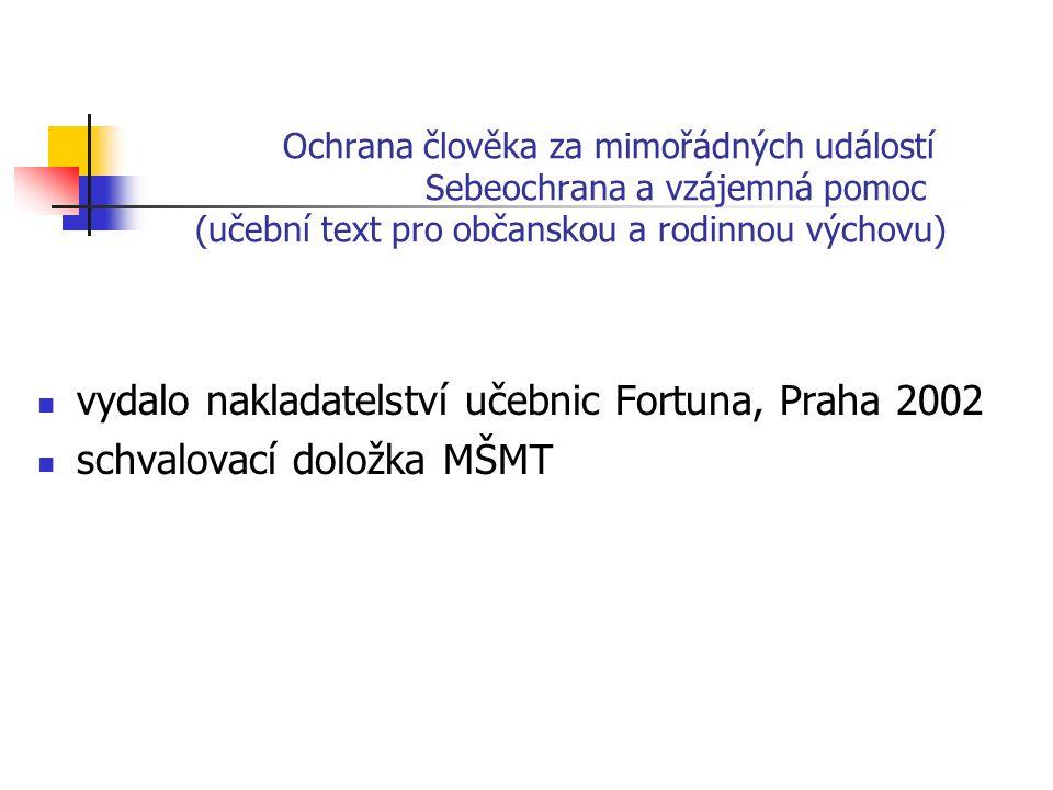 Ochrana člověka za mimořádných událostí Sebeochrana a vzájemná pomoc (učební text pro občanskou a rodinnou výchovu) vydalo nakladatelství učebnic Fortuna, Praha 2002 schvalovací doložka MŠMT