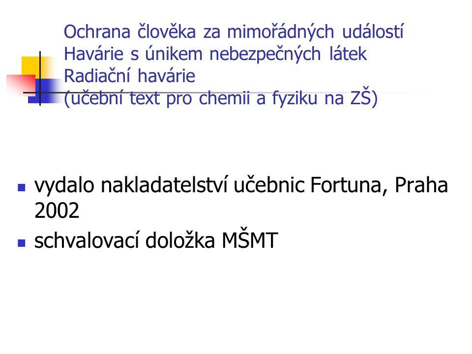 Ochrana člověka za mimořádných událostí Havárie s únikem nebezpečných látek Radiační havárie (učební text pro chemii a fyziku na ZŠ) vydalo nakladatelství učebnic Fortuna, Praha 2002 schvalovací doložka MŠMT