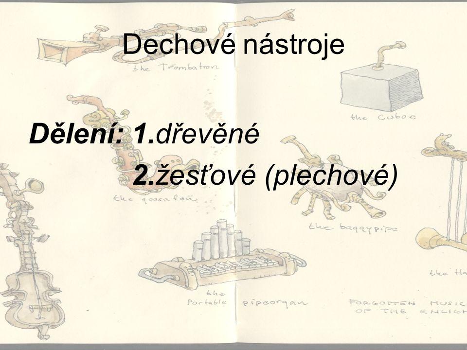 Dechové nástroje Dělení: 1.dřevěné 2.žesťové (plechové)