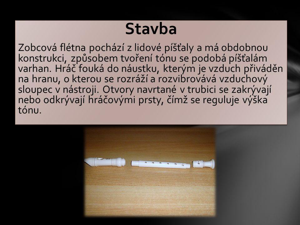 Stavba Zobcová flétna pochází z lidové píšťaly a má obdobnou konstrukci, způsobem tvoření tónu se podobá píšťalám varhan.