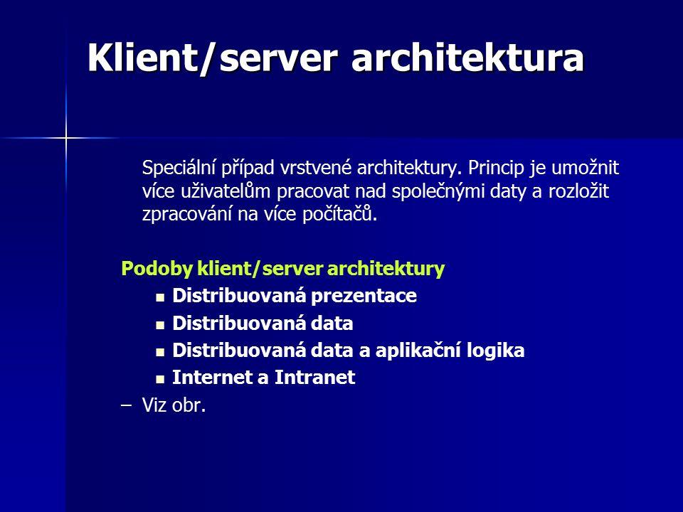 Klient/server architektura Speciální případ vrstvené architektury.