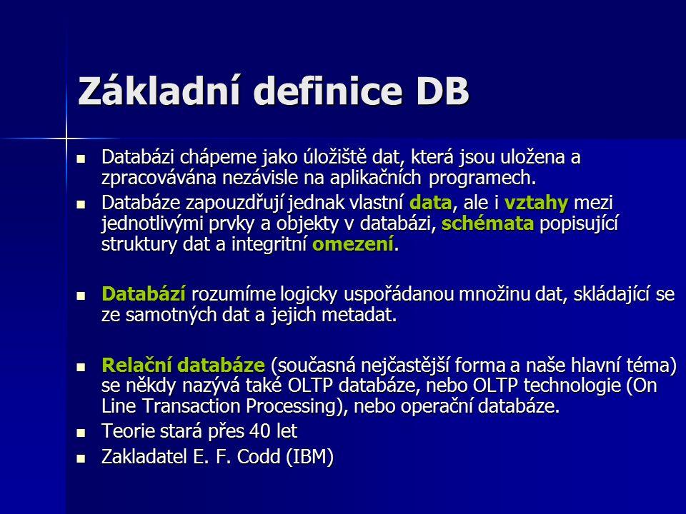Základní definice DB Databázi chápeme jako úložiště dat, která jsou uložena a zpracovávána nezávisle na aplikačních programech.