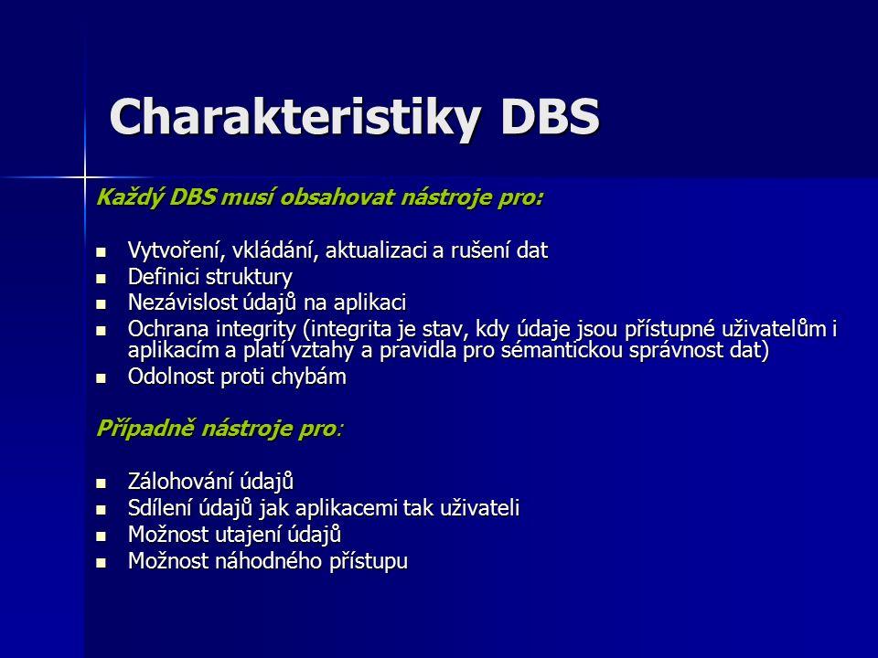 Charakteristiky DBS Každý DBS musí obsahovat nástroje pro: Vytvoření, vkládání, aktualizaci a rušení dat Vytvoření, vkládání, aktualizaci a rušení dat Definici struktury Definici struktury Nezávislost údajů na aplikaci Nezávislost údajů na aplikaci Ochrana integrity (integrita je stav, kdy údaje jsou přístupné uživatelům i aplikacím a platí vztahy a pravidla pro sémantickou správnost dat) Ochrana integrity (integrita je stav, kdy údaje jsou přístupné uživatelům i aplikacím a platí vztahy a pravidla pro sémantickou správnost dat) Odolnost proti chybám Odolnost proti chybám Případně nástroje pro: Zálohování údajů Zálohování údajů Sdílení údajů jak aplikacemi tak uživateli Sdílení údajů jak aplikacemi tak uživateli Možnost utajení údajů Možnost utajení údajů Možnost náhodného přístupu Možnost náhodného přístupu