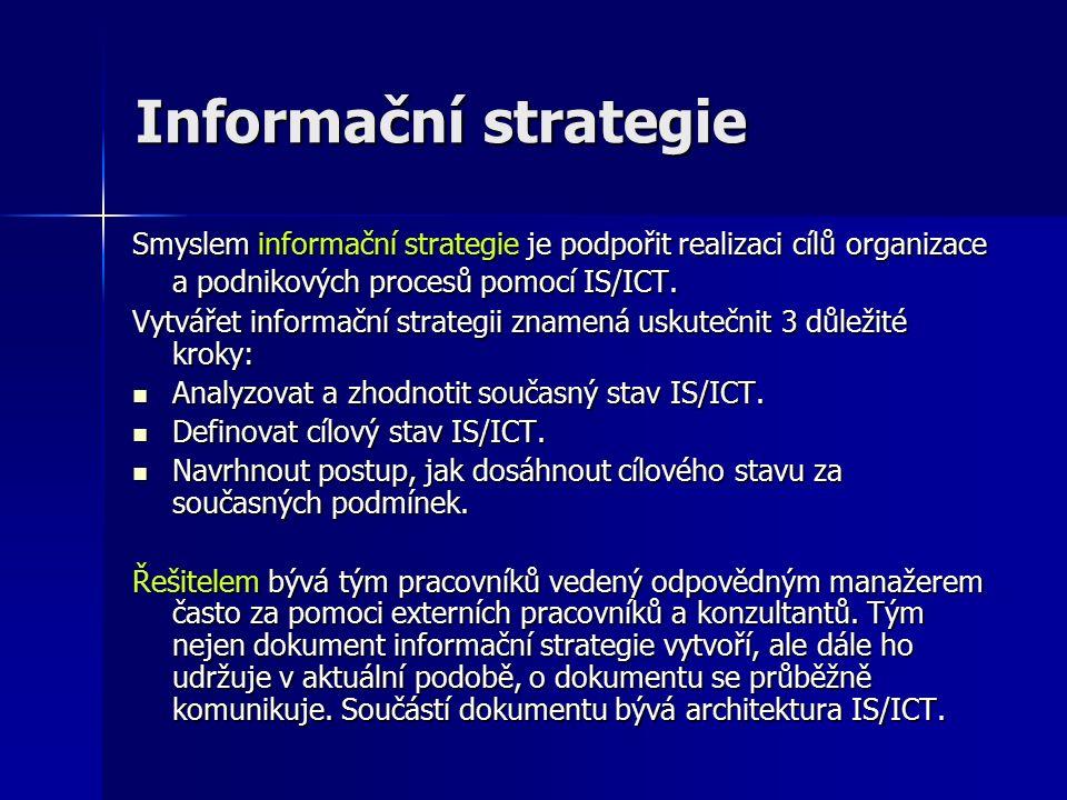 Informační strategie Smyslem informační strategie je podpořit realizaci cílů organizace a podnikových procesů pomocí IS/ICT.