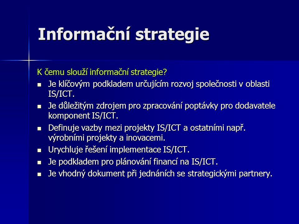 Informační strategie K čemu slouží informační strategie.