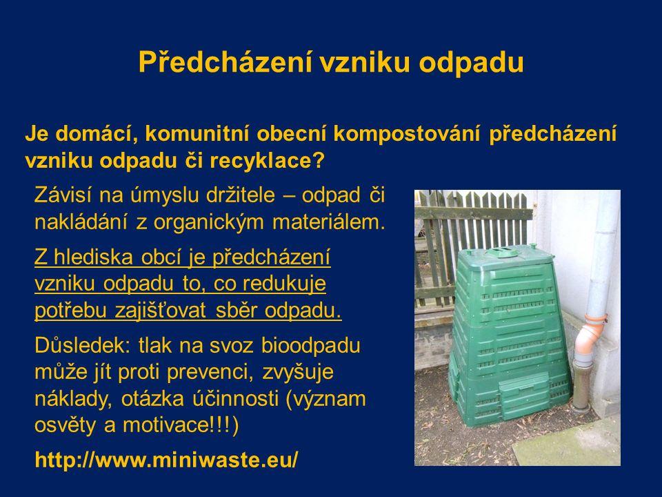 Předcházení vzniku odpadu Je domácí, komunitní obecní kompostování předcházení vzniku odpadu či recyklace.
