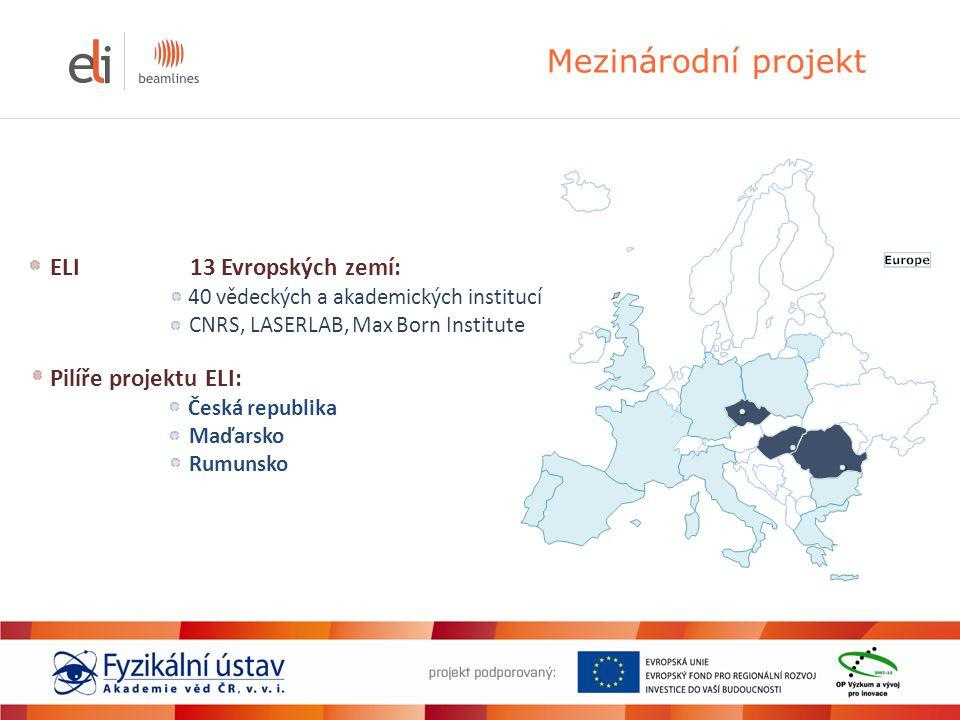 Mezinárodní projekt ELI 13 Evropských zemí: 40 vědeckých a akademických institucí CNRS, LASERLAB, Max Born Institute Pilíře projektu ELI: Česká republ