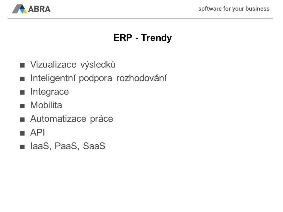 ERP - Trendy ■Vizualizace výsledků ■Inteligentní podpora rozhodování ■Integrace ■Mobilita ■Automatizace práce ■API ■IaaS, PaaS, SaaS