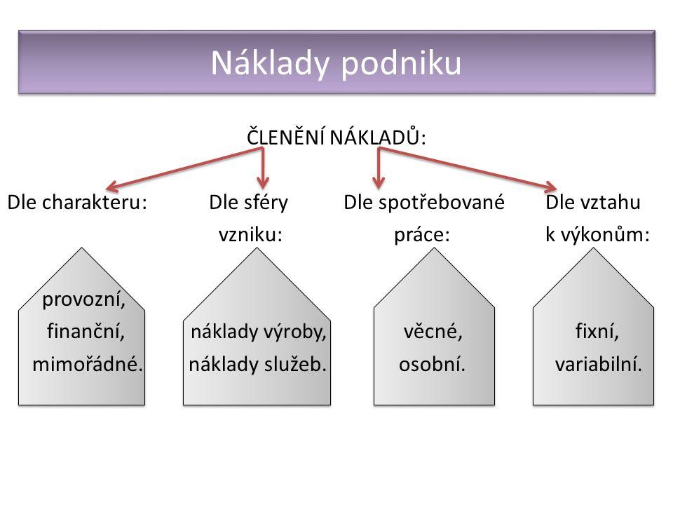 2.Výnosy podniku Ocenění výkonů podniku (peníze získané prodejem výrobků, zboží, služby apod.).