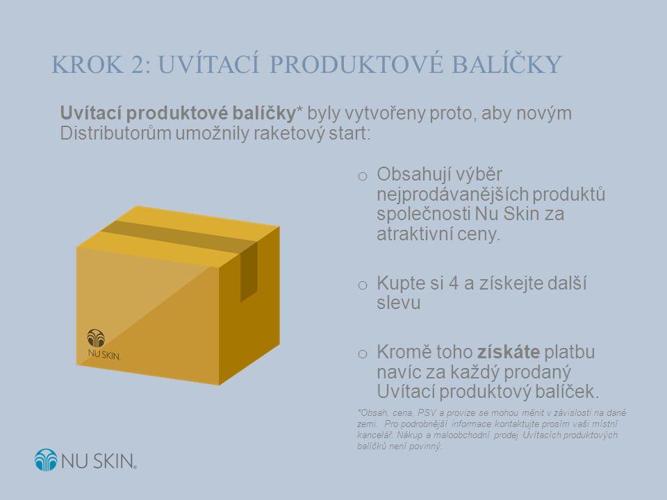 Uvítací produktové balíčky* byly vytvořeny proto, aby novým Distributorům umožnily raketový start: o Obsahují výběr nejprodávanějších produktů společnosti Nu Skin za atraktivní ceny.