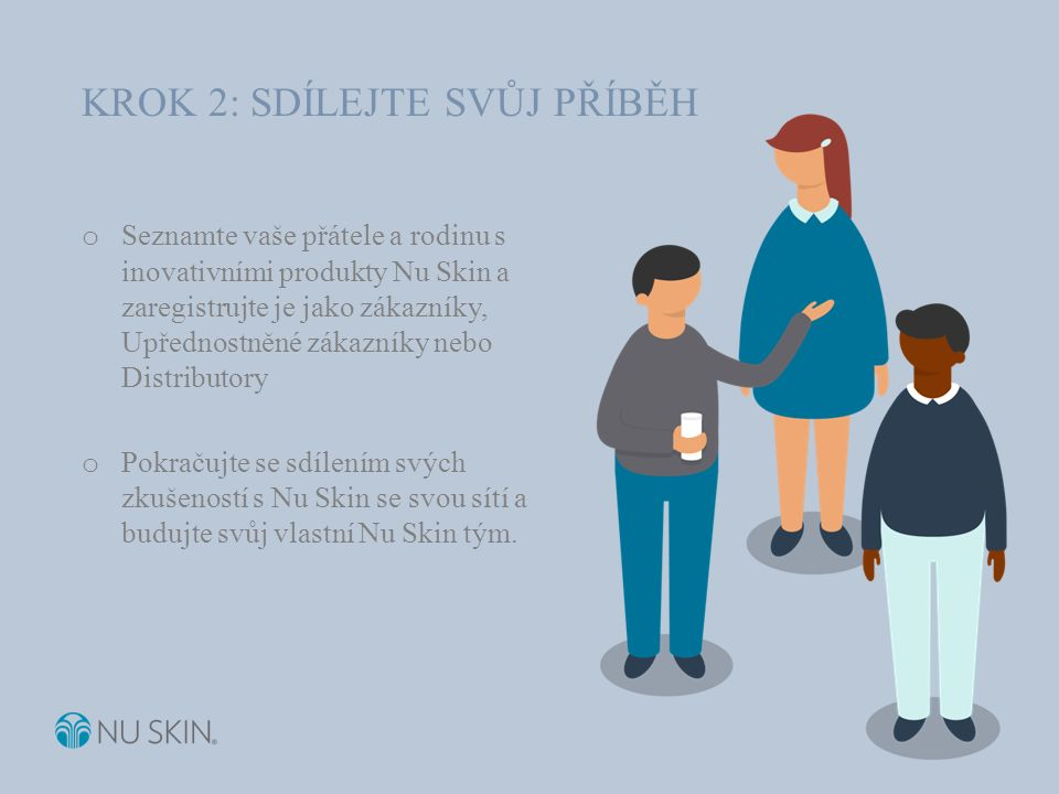 o Seznamte vaše přátele a rodinu s inovativními produkty Nu Skin a zaregistrujte je jako zákazníky, Upřednostněné zákazníky nebo Distributory o Pokračujte se sdílením svých zkušeností s Nu Skin se svou sítí a budujte svůj vlastní Nu Skin tým.