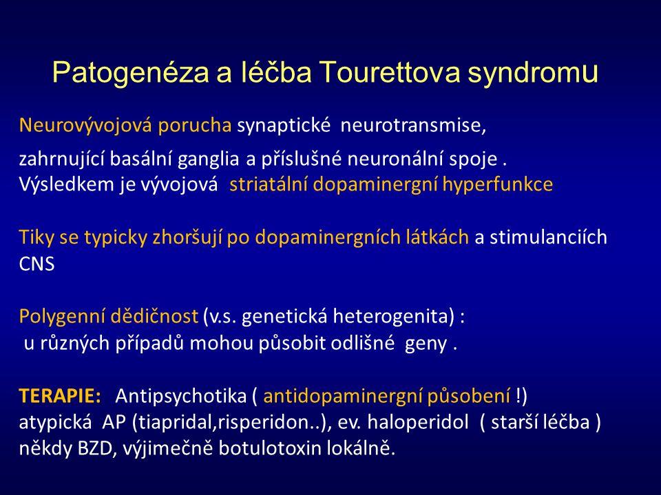 Patogenéza a léčba Tourettova syndrom u Neurovývojová porucha synaptické neurotransmise, zahrnující basální ganglia a příslušné neuronální spoje.