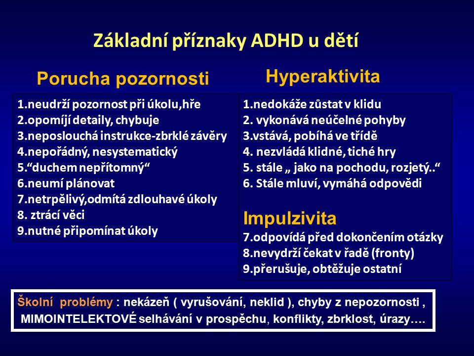 Základní příznaky ADHD u dětí Porucha pozornosti 1.neudrží pozornost při úkolu,hře 2.opomíjí detaily, chybuje 3.neposlouchá instrukce-zbrklé závěry 4.nepořádný, nesystematický 5. duchem nepřítomný 6.neumí plánovat 7.netrpělivý,odmítá zdlouhavé úkoly 8.