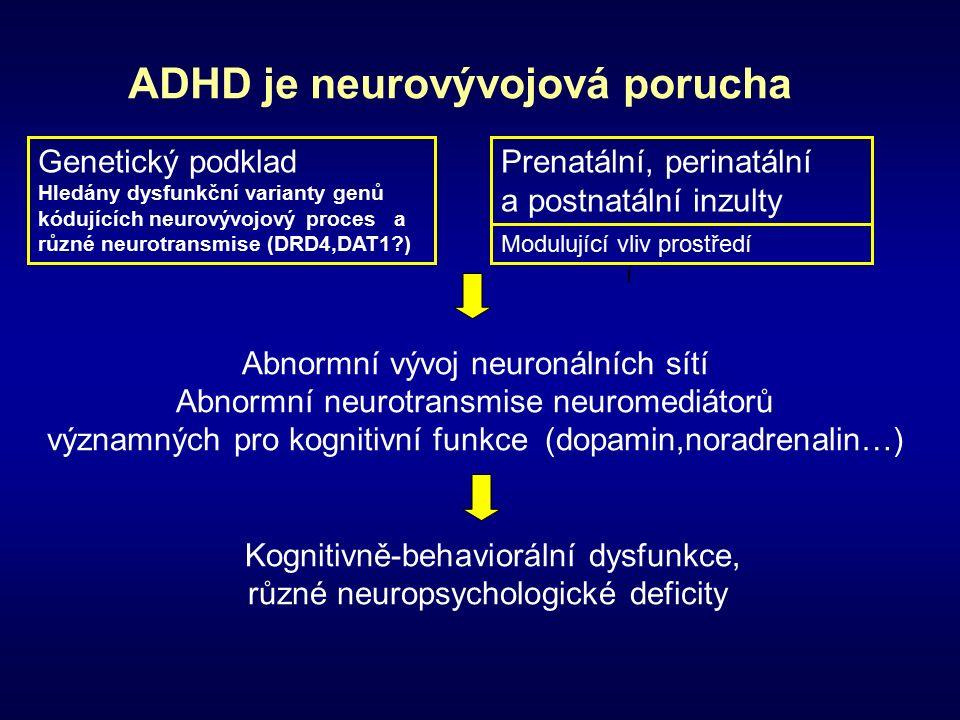 ADHD je neurovývojová porucha Abnormní vývoj neuronálních sítí Abnormní neurotransmise neuromediátorů významných pro kognitivní funkce (dopamin,noradrenalin…) Kognitivně-behaviorální dysfunkce, různé neuropsychologické deficity í Genetický podklad Hledány dysfunkční varianty genů kódujících neurovývojový proces a různé neurotransmise (DRD4,DAT1 ) Prenatální, perinatální a postnatální inzulty Modulující vliv prostředí