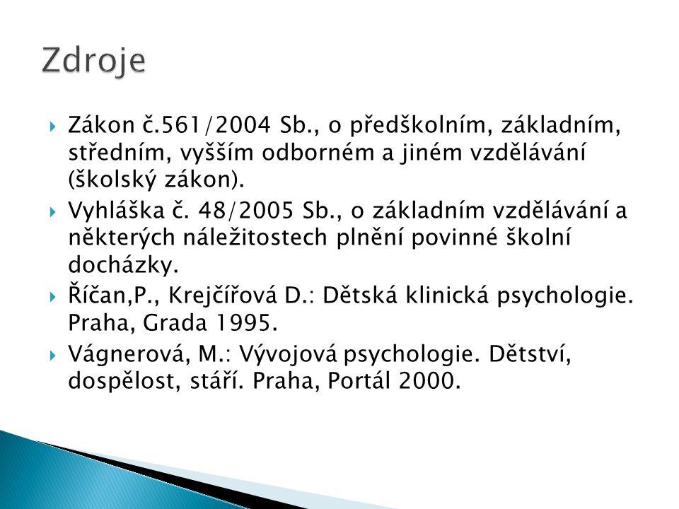  Zákon č.561/2004 Sb., o předškolním, základním, středním, vyšším odborném a jiném vzdělávání (školský zákon).  Vyhláška č. 48/2005 Sb., o základním