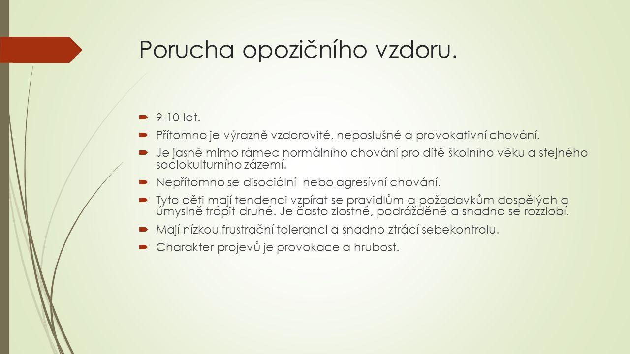 Porucha opozičního vzdoru.  9-10 let.