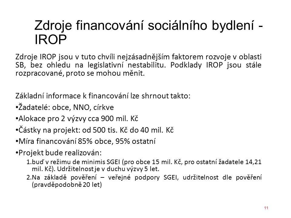 Zdroje financování sociálního bydlení - IROP Zdroje IROP jsou v tuto chvíli nejzásadnějším faktorem rozvoje v oblasti SB, bez ohledu na legislativní n