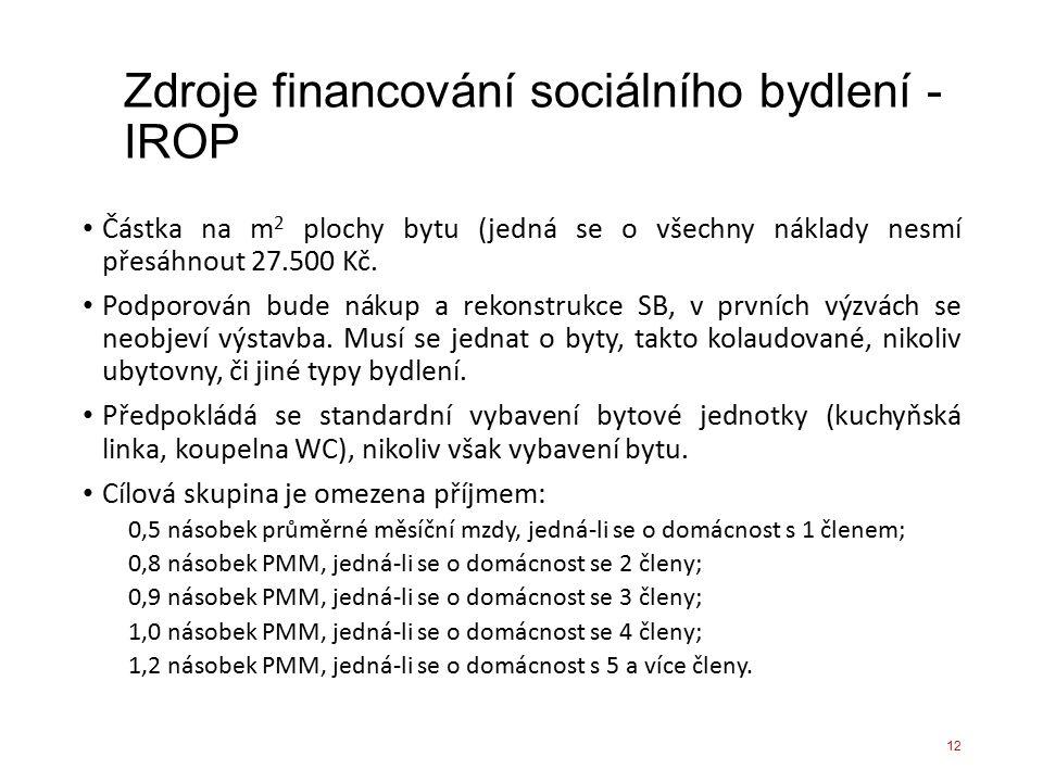 Zdroje financování sociálního bydlení - IROP Částka na m 2 plochy bytu (jedná se o všechny náklady nesmí přesáhnout 27.500 Kč. Podporován bude nákup a