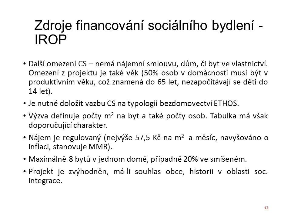 Zdroje financování sociálního bydlení - IROP Další omezení CS – nemá nájemní smlouvu, dům, či byt ve vlastnictví. Omezení z projektu je také věk (50%