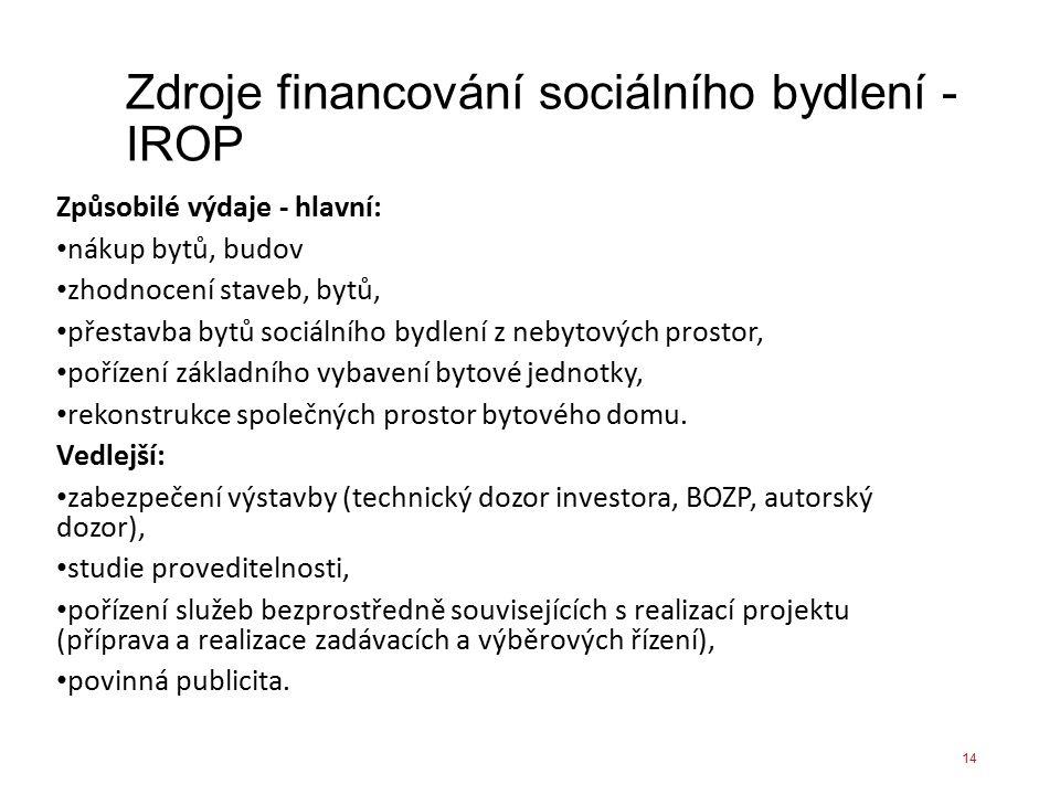Zdroje financování sociálního bydlení - IROP Způsobilé výdaje - hlavní: nákup bytů, budov zhodnocení staveb, bytů, přestavba bytů sociálního bydlení z