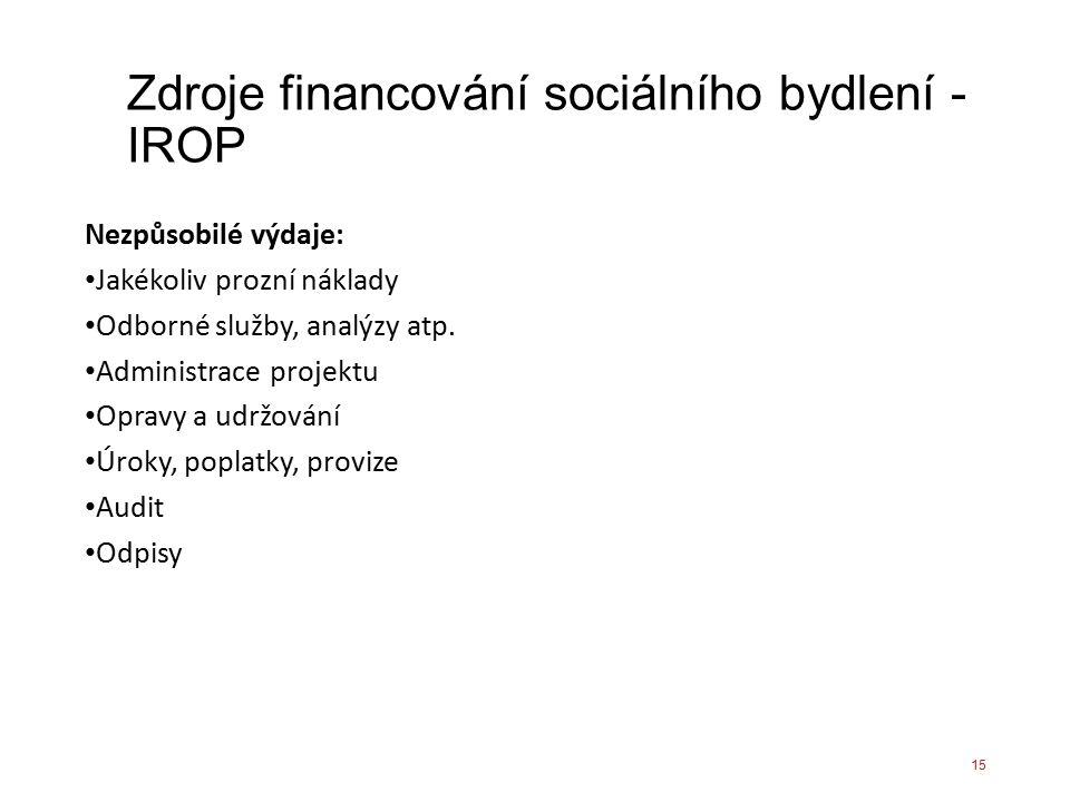 Zdroje financování sociálního bydlení - IROP Nezpůsobilé výdaje: Jakékoliv prozní náklady Odborné služby, analýzy atp. Administrace projektu Opravy a