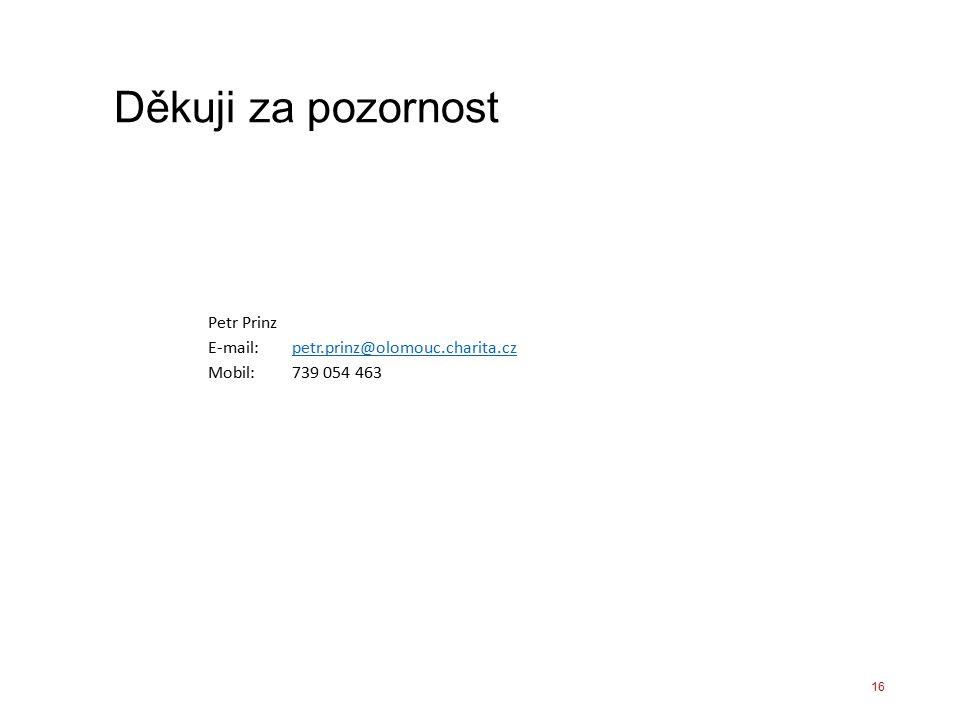 Děkuji za pozornost Petr Prinz E-mail: petr.prinz@olomouc.charita.czpetr.prinz@olomouc.charita.cz Mobil: 739 054 463 16