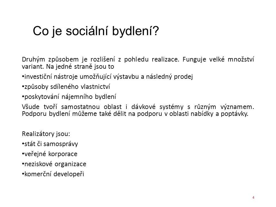Co je sociální bydlení? Druhým způsobem je rozlišení z pohledu realizace. Funguje velké množství variant. Na jedné straně jsou to investiční nástroje
