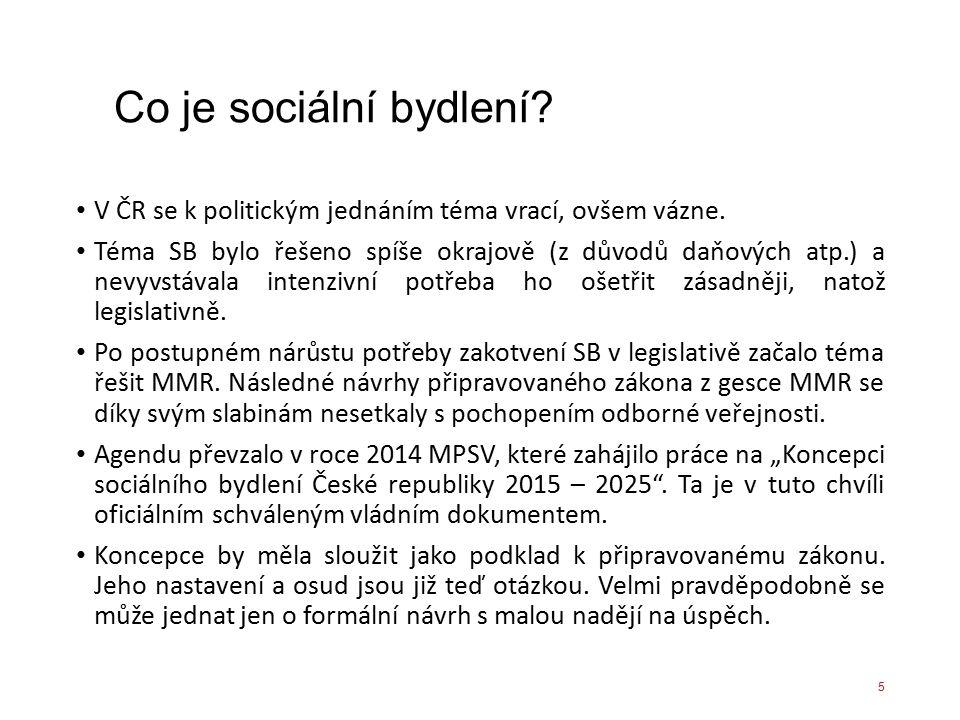 Co je sociální bydlení? V ČR se k politickým jednáním téma vrací, ovšem vázne. Téma SB bylo řešeno spíše okrajově (z důvodů daňových atp.) a nevyvstáv