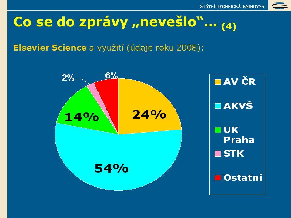 """S TÁTNÍ TECHNICKÁ KNIHOVNA Co se do zprávy """"nevešlo … (4) Elsevier Science a využití (údaje roku 2008):"""