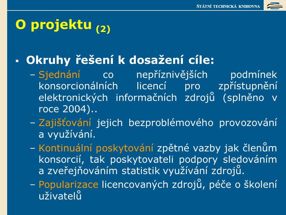 S TÁTNÍ TECHNICKÁ KNIHOVNA O projektu (3) Sjednané a provozované licence:  Elsevier Science (služba ScienceDirect) - jednání o částečné úhradě přístupu do Scopusu duben - září 2006, z ušetřené dotace projektu 1N04124 za ½ obvyklé ceny,  Springer Verlag (služba SpringerLink) - od roku 2006 nakupována i Computer Science Library obsahující LNCS, přesah do roku 2010,  Kluwer Academic Publishers (služba Kluwer Online) - na začátku roku 2005 sloučeno se Springerem, KluwerOnline zrušen, tituly + statistiky přístupné přes SpringerLink,  John Wiley & Sons (služba InterScience) – na podzim 2006 sloučení s nakladatelstvím Blackwell Publishing.Od 30.7.2008 Blackwell Synergy nahrazen Interscience.