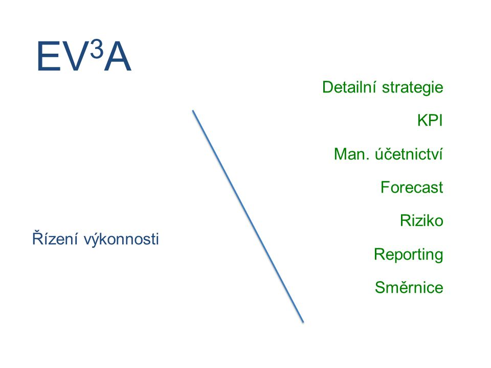 Řízení výkonnosti Detailní strategie KPI Man. účetnictví Forecast Riziko Reporting Směrnice EV 3 A