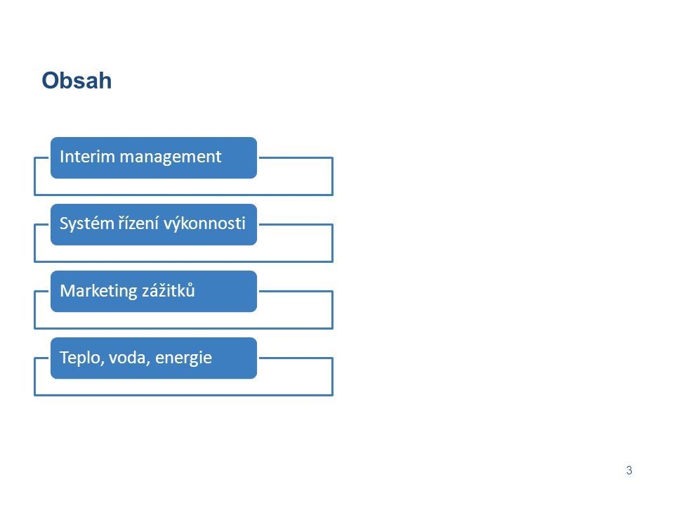 Obsah 3 Interim managementSystém řízení výkonnostiMarketing zážitkůTeplo, voda, energie