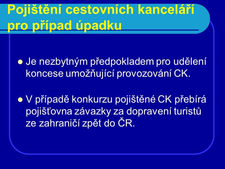 Pojištění cestovních kanceláří pro případ úpadku Je nezbytným předpokladem pro udělení koncese umožňující provozování CK. V případě konkurzu pojištěné
