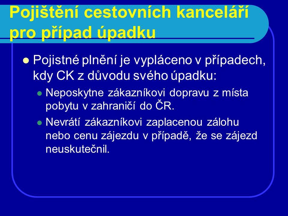 Pojištění cestovních kanceláří pro případ úpadku Pojistné plnění je vypláceno v případech, kdy CK z důvodu svého úpadku: Neposkytne zákazníkovi doprav