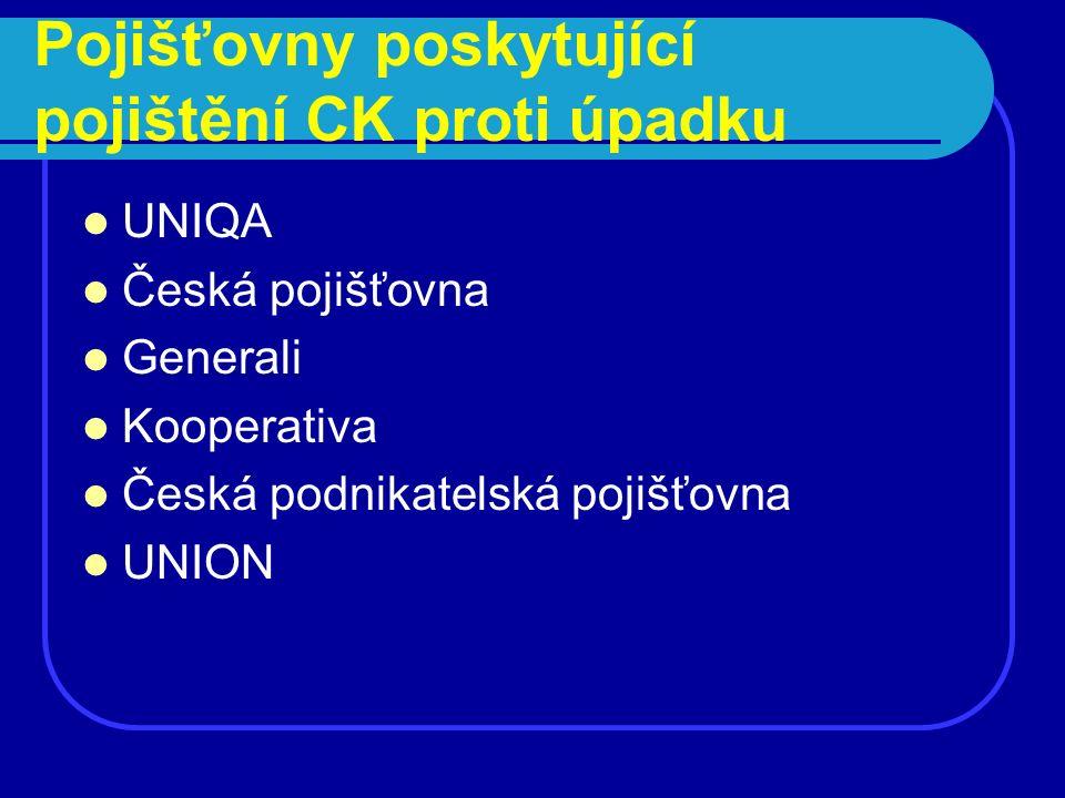 Pojišťovny poskytující pojištění CK proti úpadku UNIQA Česká pojišťovna Generali Kooperativa Česká podnikatelská pojišťovna UNION