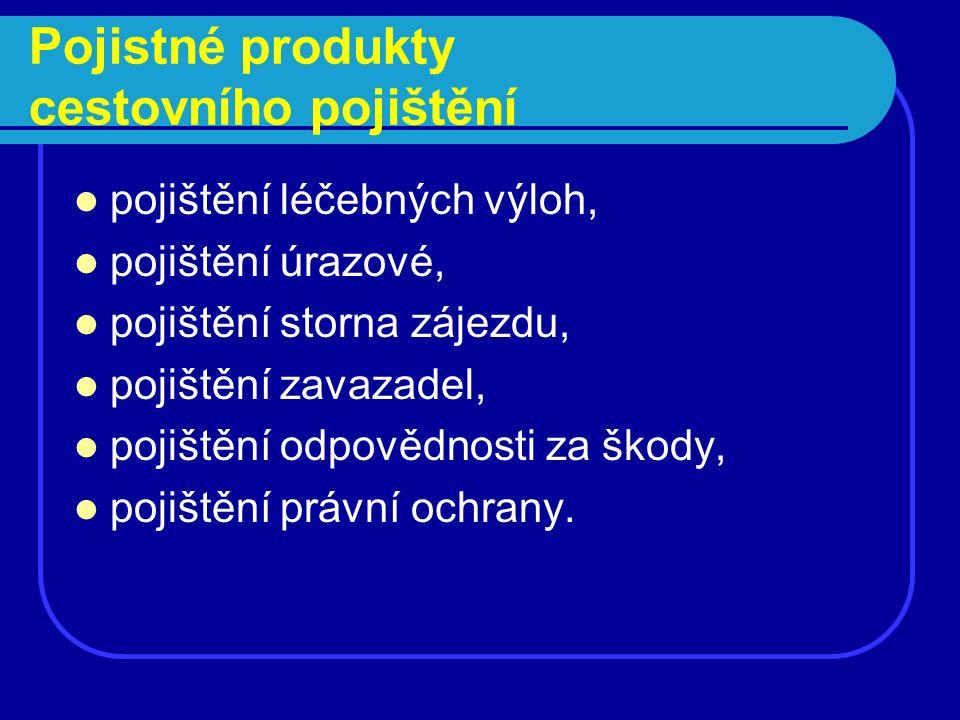 Pojištění cestovních kanceláří pro případ úpadku Pojistné plnění je vypláceno v případech, kdy CK z důvodu svého úpadku: Neposkytne zákazníkovi dopravu z místa pobytu v zahraničí do ČR.