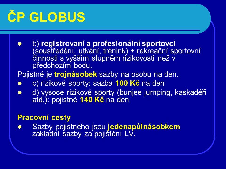 ČP GLOBUS b) registrovaní a profesionální sportovci (soustředění, utkání, trénink) + rekreační sportovní činnosti s vyšším stupněm rizikovosti než v předchozím bodu.