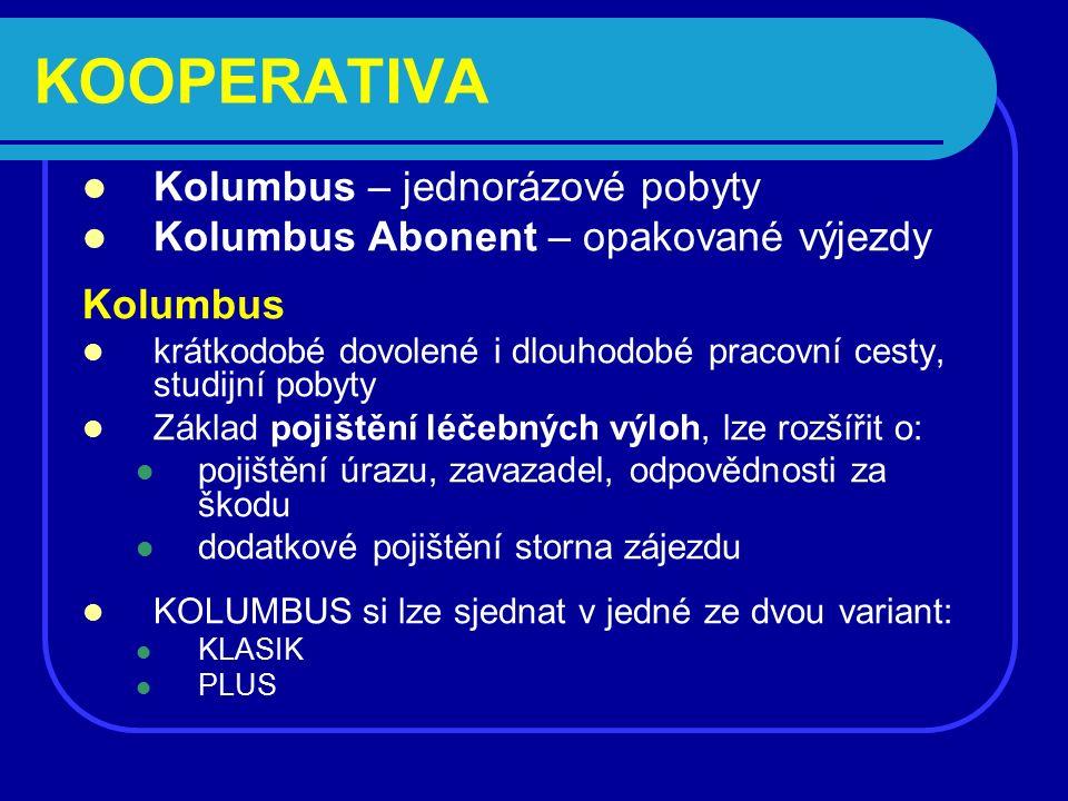 KOOPERATIVA Kolumbus – jednorázové pobyty Kolumbus Abonent – opakované výjezdy Kolumbus krátkodobé dovolené i dlouhodobé pracovní cesty, studijní pobyty Základ pojištění léčebných výloh, lze rozšířit o: pojištění úrazu, zavazadel, odpovědnosti za škodu dodatkové pojištění storna zájezdu KOLUMBUS si lze sjednat v jedné ze dvou variant: KLASIK PLUS