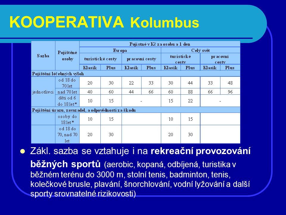 Zákl. sazba se vztahuje i na rekreační provozování běžných sportů (aerobic, kopaná, odbíjená, turistika v běžném terénu do 3000 m, stolní tenis, badmi