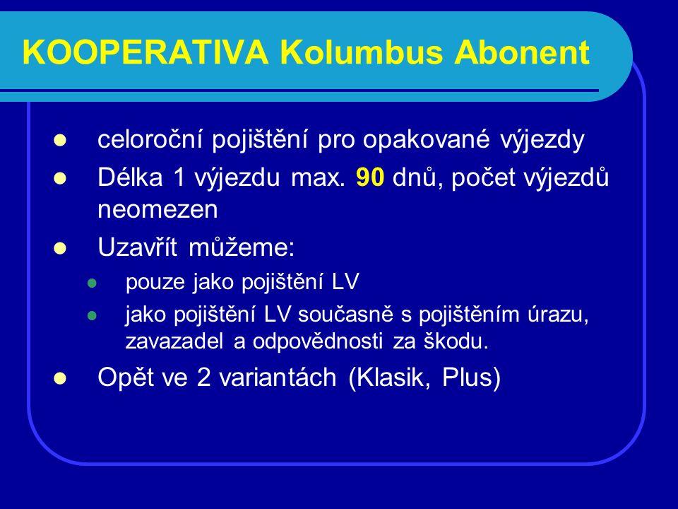 KOOPERATIVA Kolumbus Abonent celoroční pojištění pro opakované výjezdy Délka 1 výjezdu max.