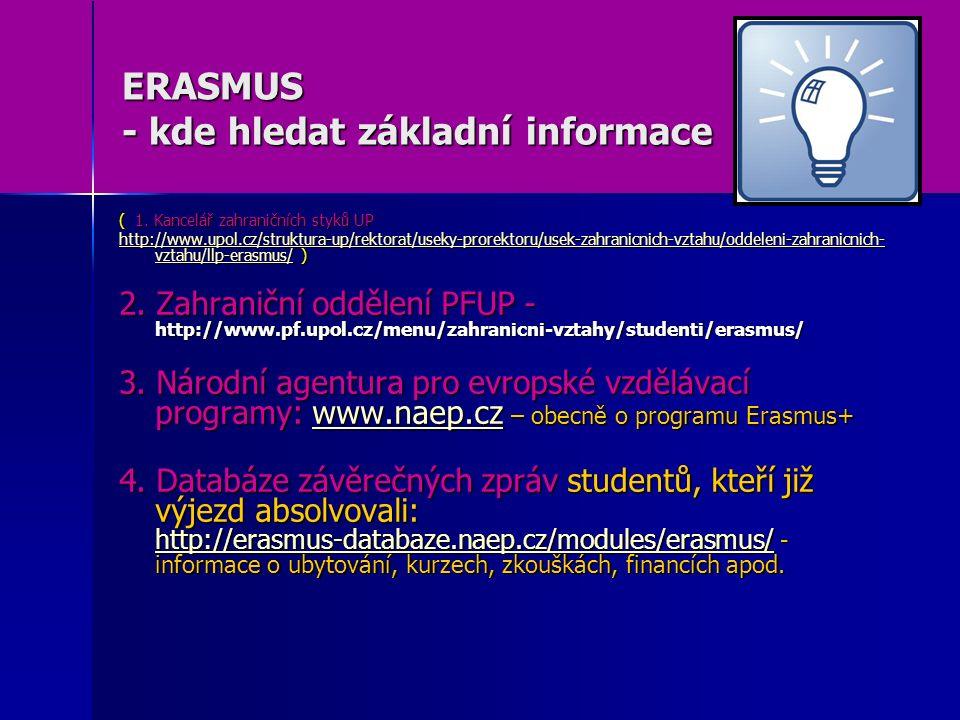 ERASMUS - kde hledat základní informace ( 1. Kancelář zahraničních styků UP http://www.upol.cz/struktura-up/rektorat/useky-prorektoru/usek-zahranicnic