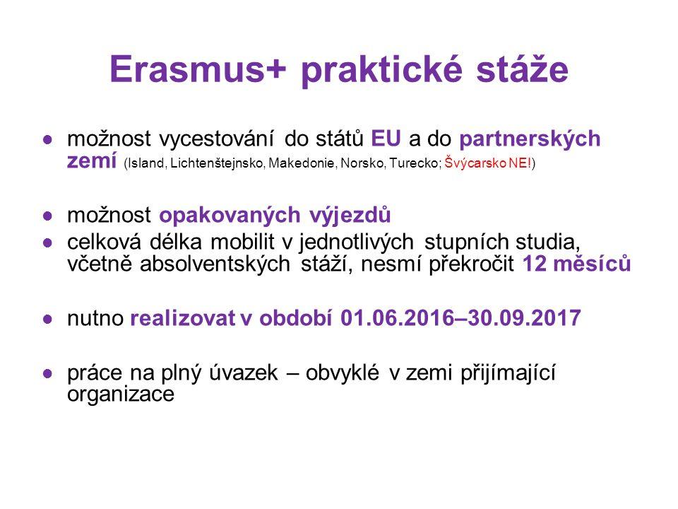 možnost vycestování do států EU a do partnerských zemí (Island, Lichtenštejnsko, Makedonie, Norsko, Turecko; Švýcarsko NE!) možnost opakovaných výjezdů celková délka mobilit v jednotlivých stupních studia, včetně absolventských stáží, nesmí překročit 12 měsíců nutno realizovat v období 01.06.2016–30.09.2017 práce na plný úvazek – obvyklé v zemi přijímající organizace Erasmus+ praktické stáže