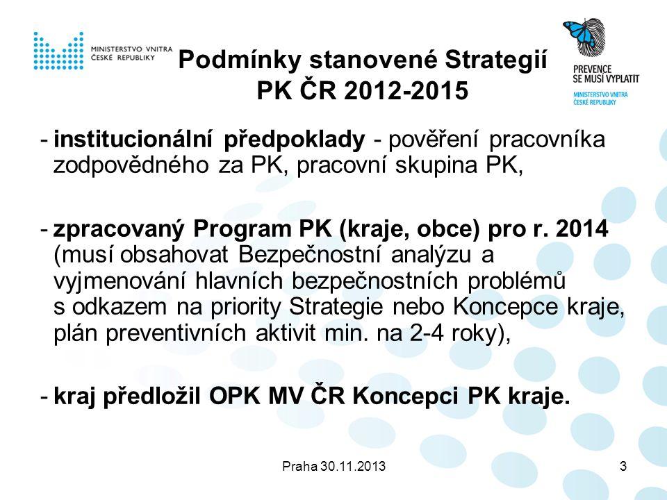 Praha 30.11.20133 Podmínky stanovené Strategií PK ČR 2012-2015 -institucionální předpoklady - pověření pracovníka zodpovědného za PK, pracovní skupina PK, -zpracovaný Program PK (kraje, obce) pro r.