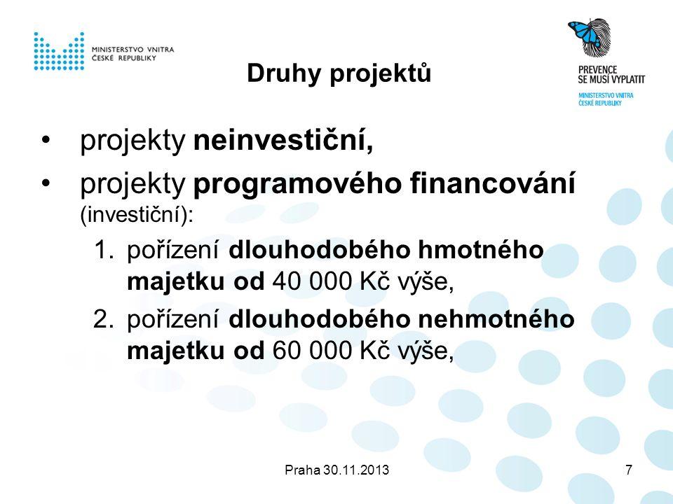Praha 30.11.20138 Projekty programového financování Povinnost postupovat podle § 12 odst.