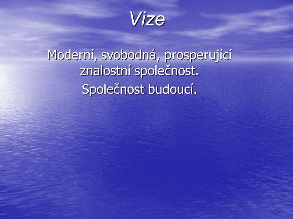 Vize Moderní, svobodná, prosperující znalostní společnost. Společnost budoucí.